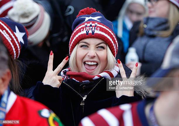 Actress Julianne Hough cheers on during the 2015 Bridgestone NHL Winter Classic at Nationals Park on January 1 2015 in Washington DC The Capitals...