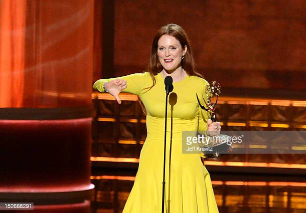 Actress Julianne Moore accepts her award onstage during the 64th Primetime Emmy Awards at Nokia Theatre LA Live on September 23 2012 in Los Angeles...