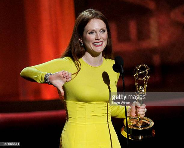 Actress Julianne Moore accepts Outstanding Lead Actress in a Miniseries or a Movie for Game Change onstage during the 64th Annual Primetime Emmy...