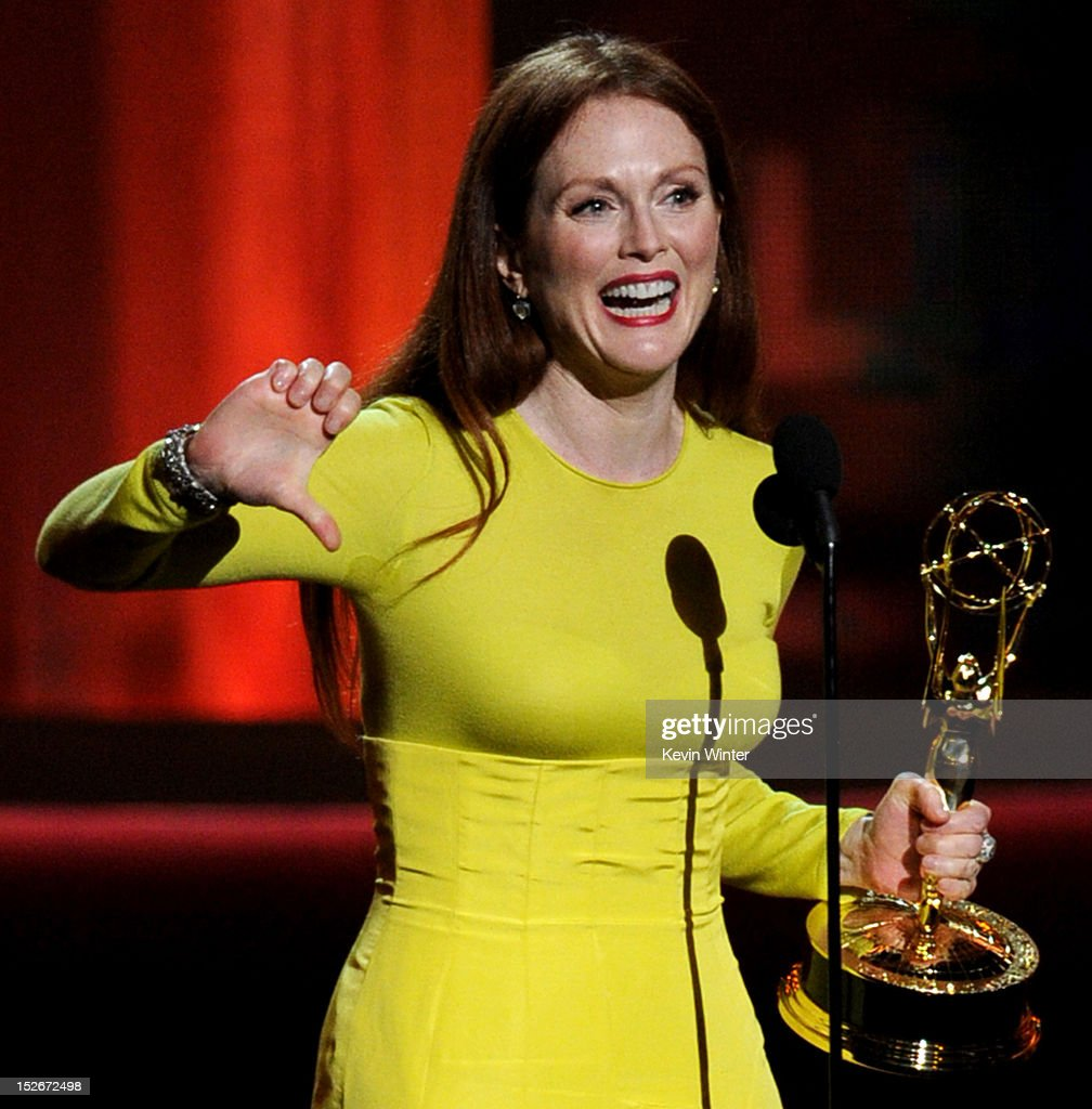 Actress Julianne Moore accepts Outstanding Lead Actress in a Miniseries or a Movie for 'Game Change' onstage during the 64th Annual Primetime Emmy Awards at Nokia Theatre L.A. Live on September 23, 2012 in Los Angeles, California.