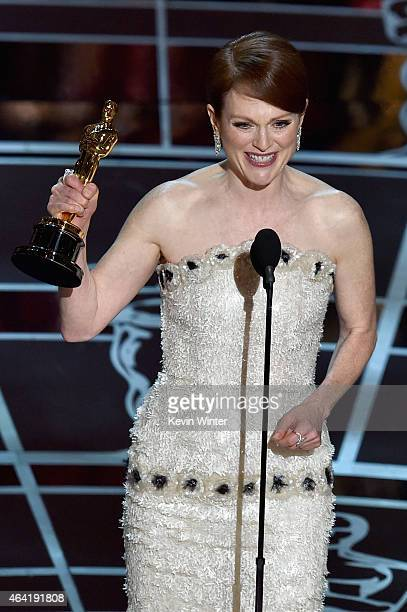 Actress Julianne Moore accepts the Best Actress in a Leading Role Award for Still Alice onstage during the 87th Annual Academy Awards at Dolby...