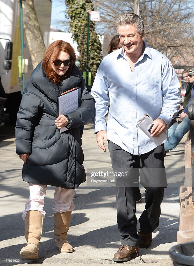 Actress Julianne Moore and actor Alec Baldwin are seen on the set of 'Still Alice' on March 11, 2014 in New York City.