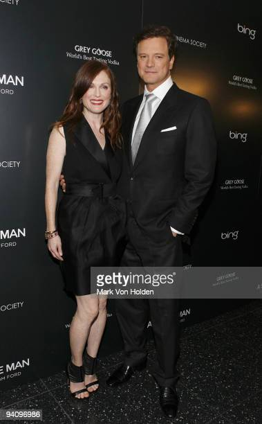 """Actress Julianne Moore and actor Colin Firth attend a screening of """"A Single Man"""" hosted by the Cinema Society and Tom Ford at The Museum of Modern..."""