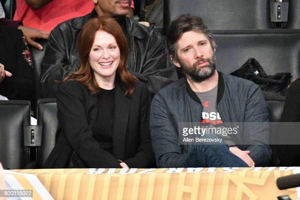 Actress Julianne Moore and Bart Freundlich attend The 67th NBA AllStar Game Team LeBron Vs Team Stephen at Staples Center on February 18 2018 in Los...