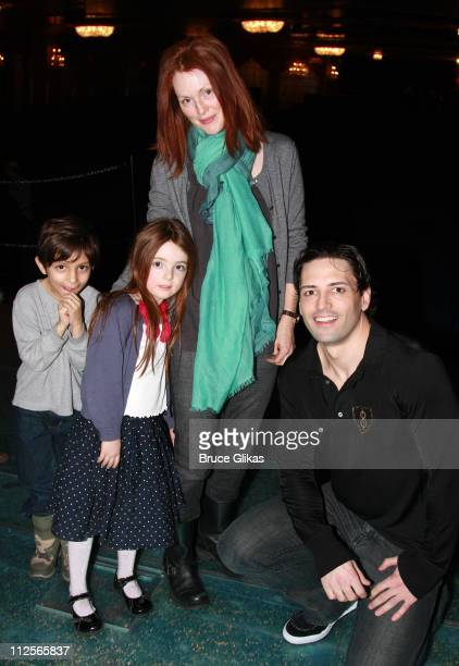 COVERAGE* Actress Julianne Moore and daughter Liv Helen Freundlich and friend Reggie pose with Actor Sean Palmer backstage at 'The Little Mermaid' on...