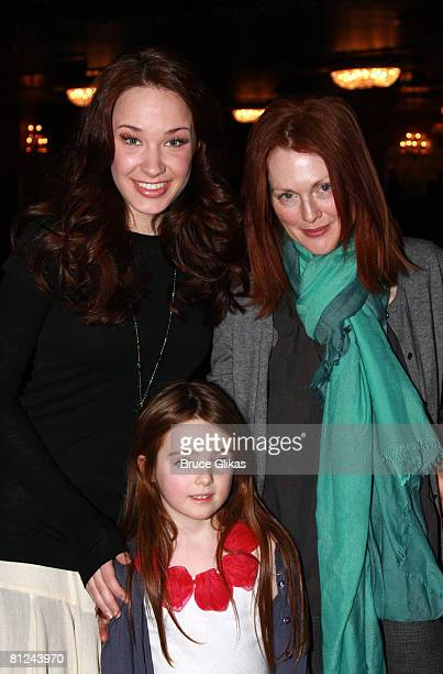 NEW YORK JANUARY 27 *EXCLUSIVE COVERAGE* Actress Julianne Moore and daughter Liv Helen Freundlich pose with Sierra Boggess backstage at 'The Little...