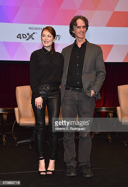 Actress Julianne Moore and director Jay Roach attend CinemaCon's final day luncheon and special presentation at Caesars Palace during CinemaCon, the...