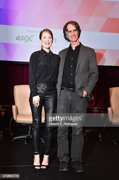 Actress Julianne Moore and director Jay Roach attend CinemaCon's final day luncheon and special presentation at Caesars Palace during CinemaCon the...