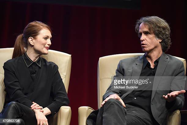 Actress Julianne Moore and director Jay Roach speak onstage during CinemaCon's final day luncheon and special presentation at Caesars Palace during...
