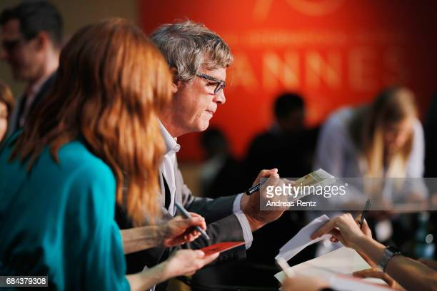 Actress Julianne Moore and director Todd Haynes signs autographe to fans during 'Wonderstruck' Press Conference during the 70th annual Cannes Film...