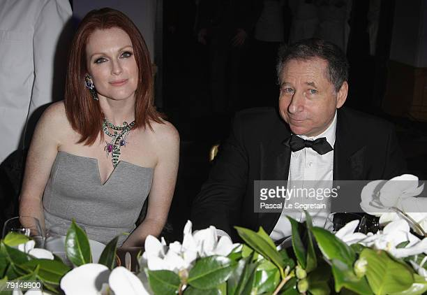 Actress Julianne Moore and Executive director of Scuderia Ferrari Jean Todt attend the 150th Anniversary dinner of Boucheron January 21 2008 in Paris...