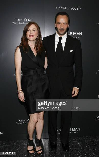 """Actress Julianne Moore and fashion designer Tom Ford attend a screening of """"A Single Man"""" hosted by the Cinema Society and Tom Ford at The Museum of..."""