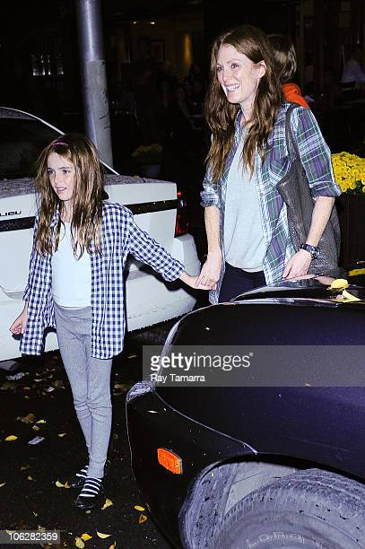 Actress Julianne Moore and her daugher Liv Freundlich leave Bar Pitti on October 27 2010 in New York City