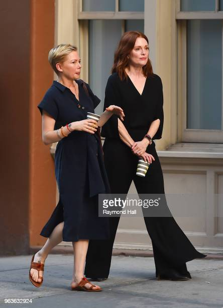 Actress Julianne Moore and Michelle Williams are seen on the set of After The Wedding on May 29, 2018 in New York City.