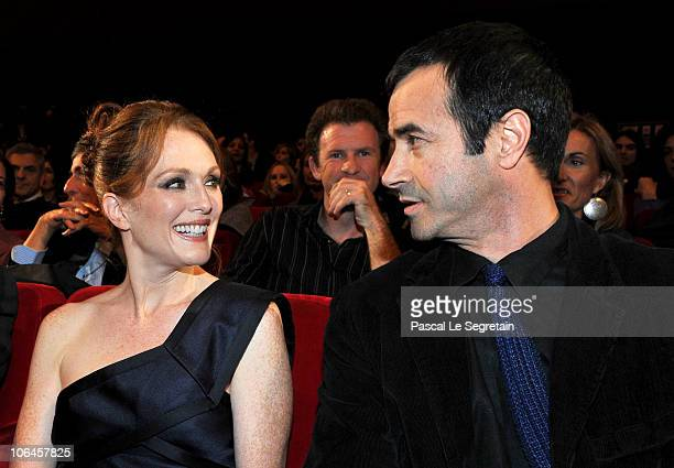 Actress Julianne Moore and producer Andrea Occhipinti after Moore is presented with the Marc'aurelio Acting Award during the 5th International Rome...