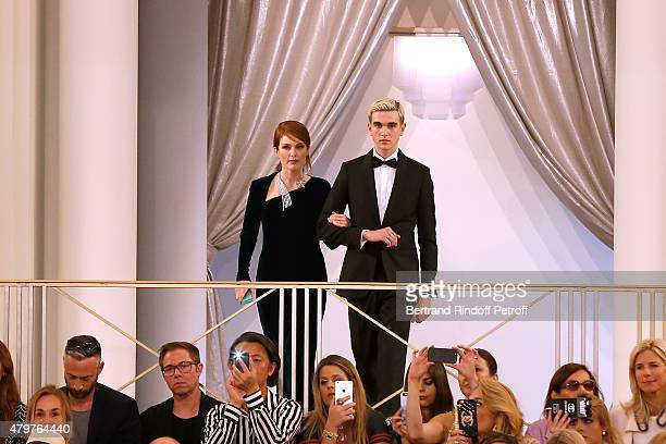 Actress Julianne Moore and Singer GabrielKane DayLewis attend the Chanel show as part of Paris Fashion Week Haute Couture Fall/Winter 2015/2016 Held...