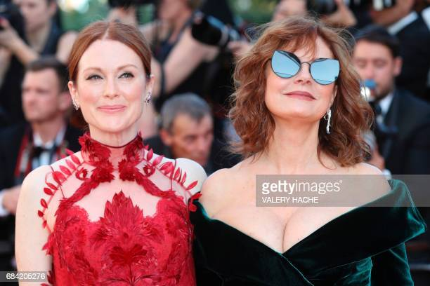 TOPSHOT US actress Julianne Moore and US actress Susan Sarandon pose as they arrive on May 17 2017 for the screening of the film 'Ismael's Ghosts'...