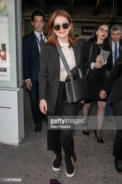 Actress Julianne Moore arrives ahead of/departs the 72nd annual Cannes Film Festival at Nice Airport on May 13 2019 in Nice France