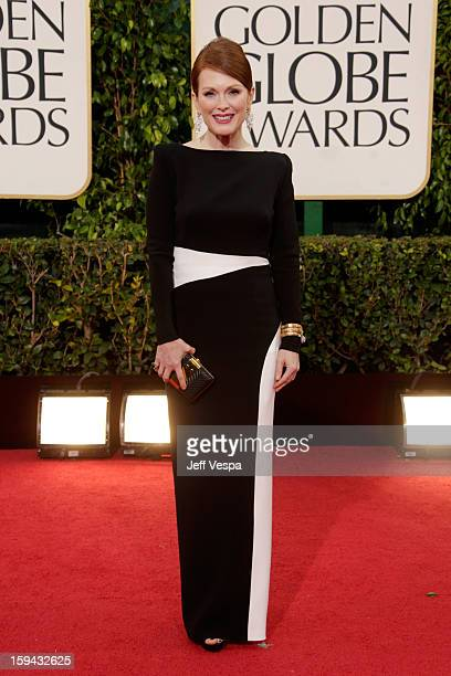 Actress Julianne Moore arrives at the 70th Annual Golden Globe Awards held at The Beverly Hilton Hotel on January 13 2013 in Beverly Hills California