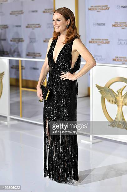 """Actress Julianne Moore arrives at the Los Angeles premiere of """"The Hunger Games: Mockingjay - Part 1"""" at Nokia Theatre L.A. Live on November 17, 2014..."""