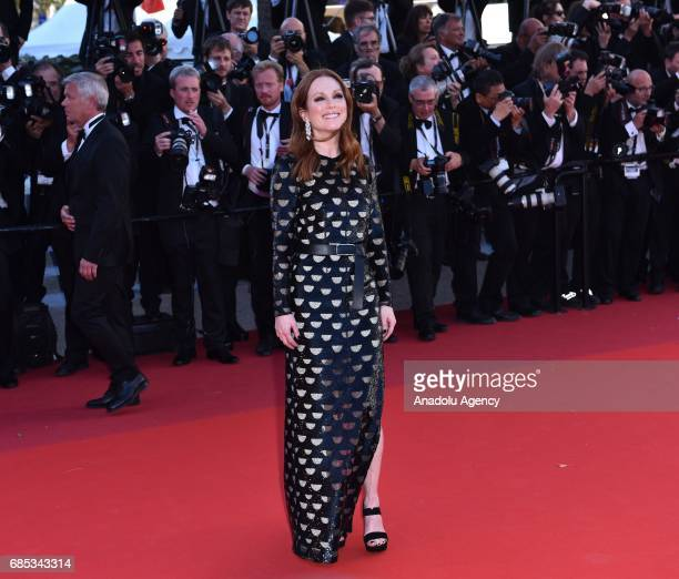 US actress Julianne Moore arrives for the screening of the film 'Okja' in competition at the 70th annual Cannes Film Festival in Cannes France on May...