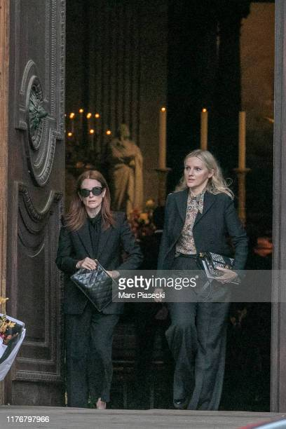 Actress Julianne Moore attends Peter Lindbergh's funeral at Eglise Saint-Sulpice on September 24, 2019 in Paris, France.