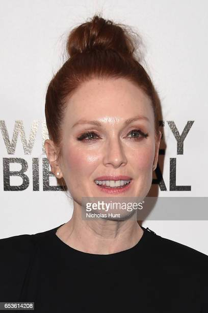 Actress Julianne Moore attends the 2017 Whitney Biennial presented by Tiffany Co at The Whitney Museum of American Art on March 15 2017 in New York...