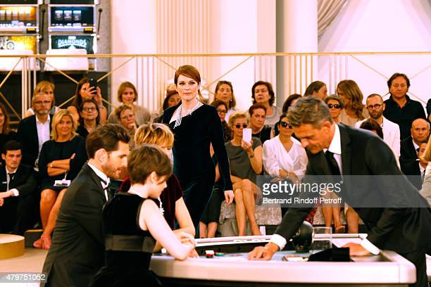 Actress Julianne Moore attends the Chanel show as part of Paris Fashion Week Haute Couture Fall/Winter 2015/2016 Held at Grand Palais on July 7 2015...
