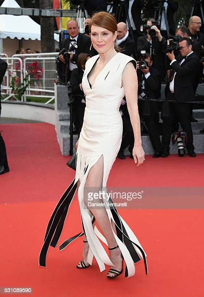 Actress Julianne Moore attends the 'Money Monster' premiere during the 69th annual Cannes Film Festival at the Palais des Festivals on May 12 2016 in...