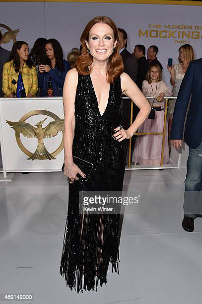 Actress Julianne Moore attends the premiere of Lionsgate's The Hunger Games Mockingjay Part 1 at Nokia Theatre LA Live on November 17 2014 in Los...