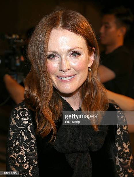 Actress Julianne Moore attends the Ralph Lauren fashion show during New York Fashion Week September 2016 at the Ralph Lauren Madison Avenue Store on...