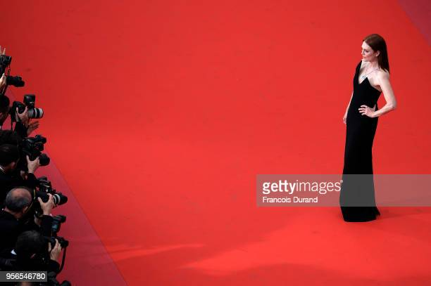 Actress Julianne Moore attends the screening of 'Yomeddine' during the 71st annual Cannes Film Festival at Palais des Festivals on May 9 2018 in...