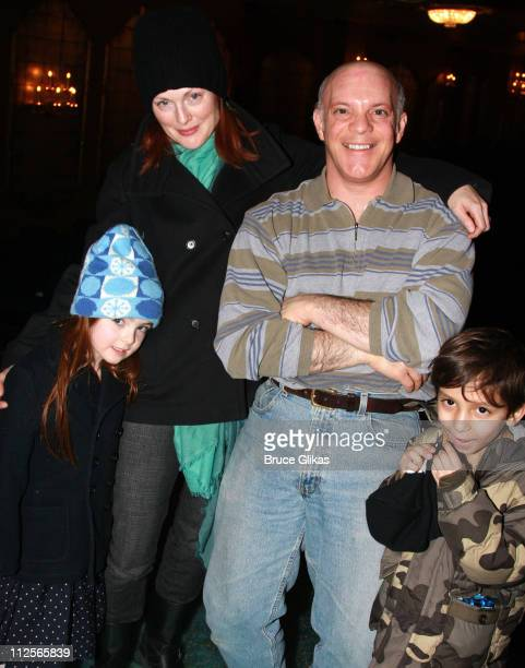 COVERAGE* Actress Julianne Moore daughter Liv Helen Freundlich and friend Reggie pose with Eddie Korbich backstage at 'The Little Mermaid' on...