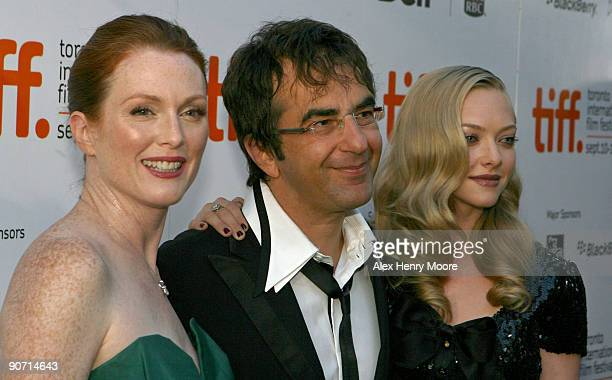 Actress Julianne Moore Director Atom Egoyan and Actress Amanda Seyfried attend 'Chloe' premiere at the Roy Thomson Hall during 2009 Toronto...