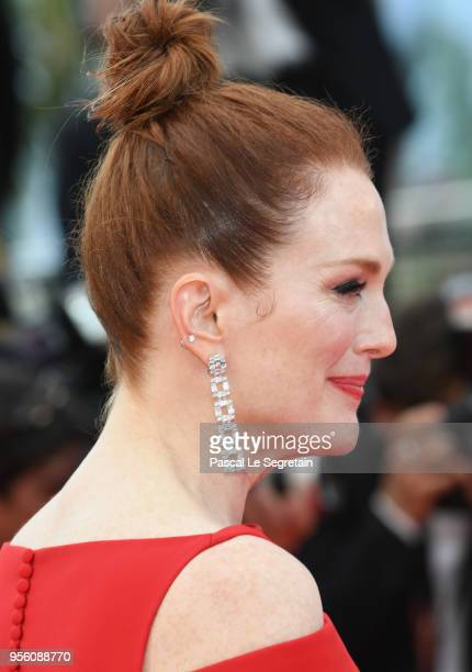 Actress Julianne Moore earring detail attends the screening of Everybody Knows and the opening gala during the 71st annual Cannes Film Festival at...