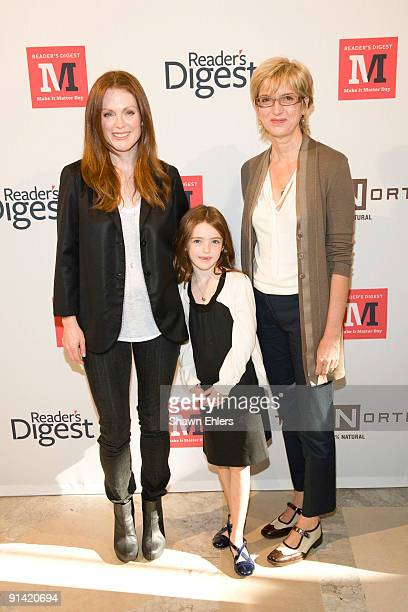 Actress Julianne Moore her daughter Liv Freundlich and editorinchief of Reader's Digest Peggy Northrop attend Make It Matter Day in support of...