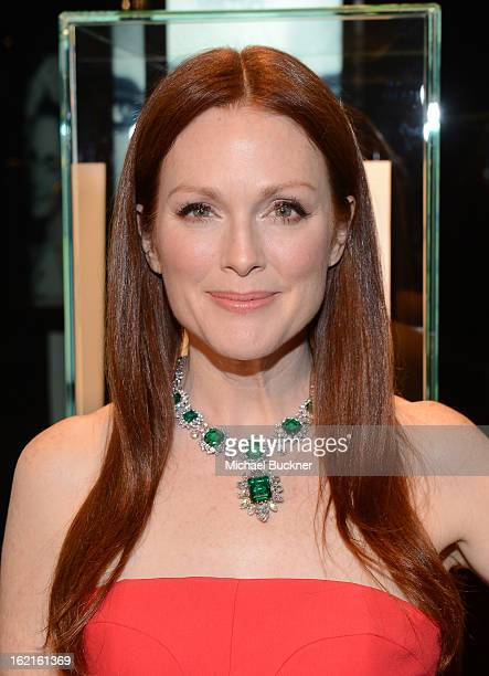 Actress Julianne Moore in BVLGARI attends the BVLGARI celebration of Elizabeth Taylor's collection of BVLGARI jewelry at BVLGARI Beverly Hills on...