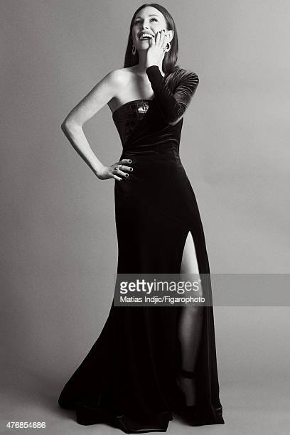 Actress Julianne Moore is photographed for Madame Figaro on May 18 2015 at the Cannes Film Festival in Cannes France Dress and shoes earrings and...