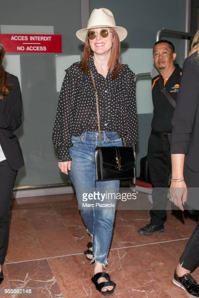 Actress Julianne Moore is seen during the 71st annual Cannes Film Festival at Nice Airport on May 7 2018 in Nice France