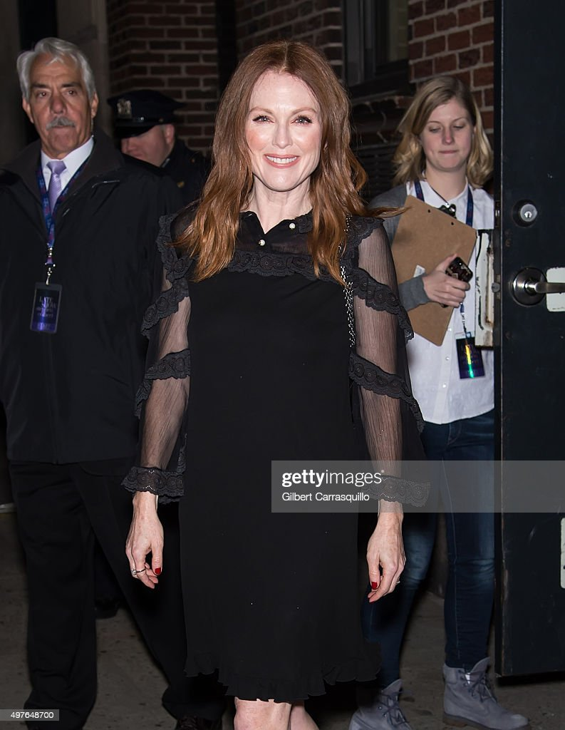 Actress Julianne Moore is seen leaving 'The Late Show With Stephen Colbert' taping outside Ed Sullivan Theater on November 17, 2015 in New York City.