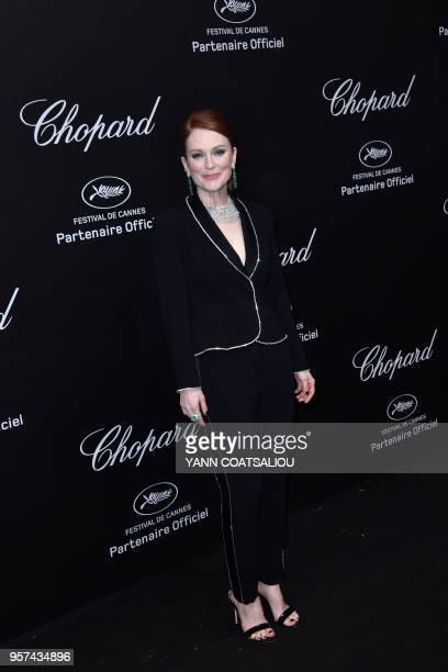 US actress Julianne Moore poses as she arrives on May 11 2018 for the Secret Chopard Party on the sidelines of the 71st Cannes film festival in...