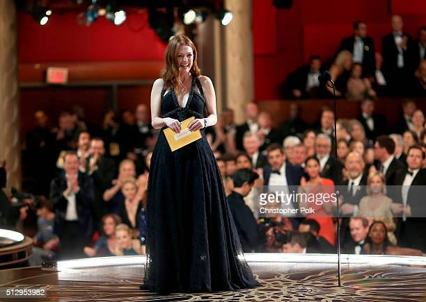 Actress Julianne Moore presents the award for Best Actor during the 88th Annual Academy Awards at Dolby Theatre on February 28 2016 in Hollywood...