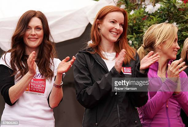 Actress Julianne Moore Revlon spokesperson Marcia Crossactress and Felicity Huffman actress at the 13th Annual Revlon Run/Walk For Women on May...