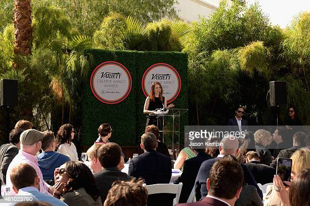 Actress Julianne Moore speaks onstage at Variety's Creative Impact Awards and 10 Directors To Watch brunch presented by Mercedes Benz at Parker Palm...