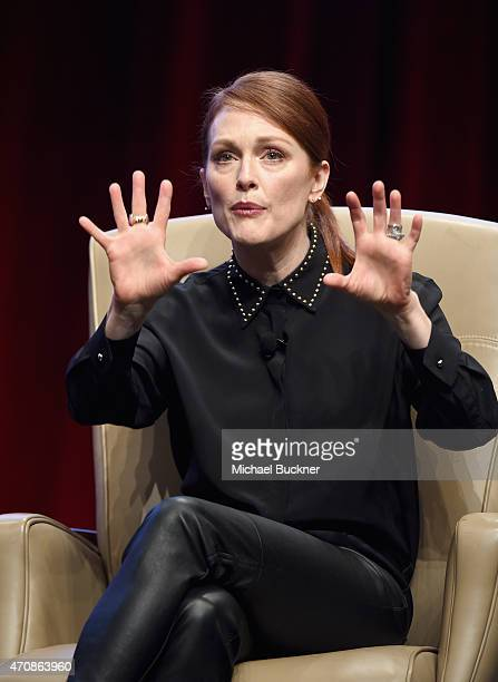 Actress Julianne Moore speaks onstage during CinemaCon's final day luncheon and special presentation at Caesars Palace during CinemaCon, the official...