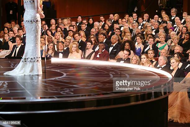 Actress Julianne Moore winner of the Best Actress in a Leading Role Award for 'Still Alice' onstage at the 87th Annual Academy Awards at Dolby...