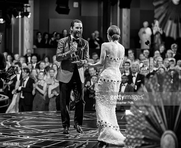 Actress Julianne Moore winner of the Best Actress in a Leading Role Award for 'Still Alice' and actor Matthew McConaughey appear onstage at the The...