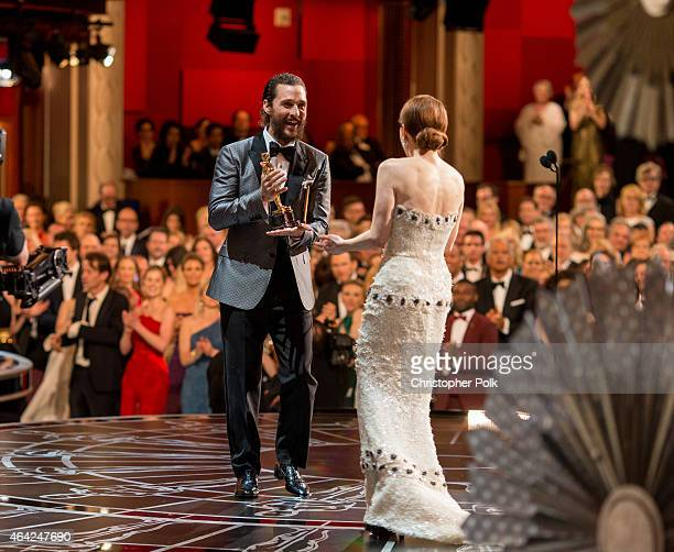 Actress Julianne Moore winner of the Best Actress in a Leading Role Award for 'Still Alice' and actor Matthew McConaughey appear onstage at The 87th...