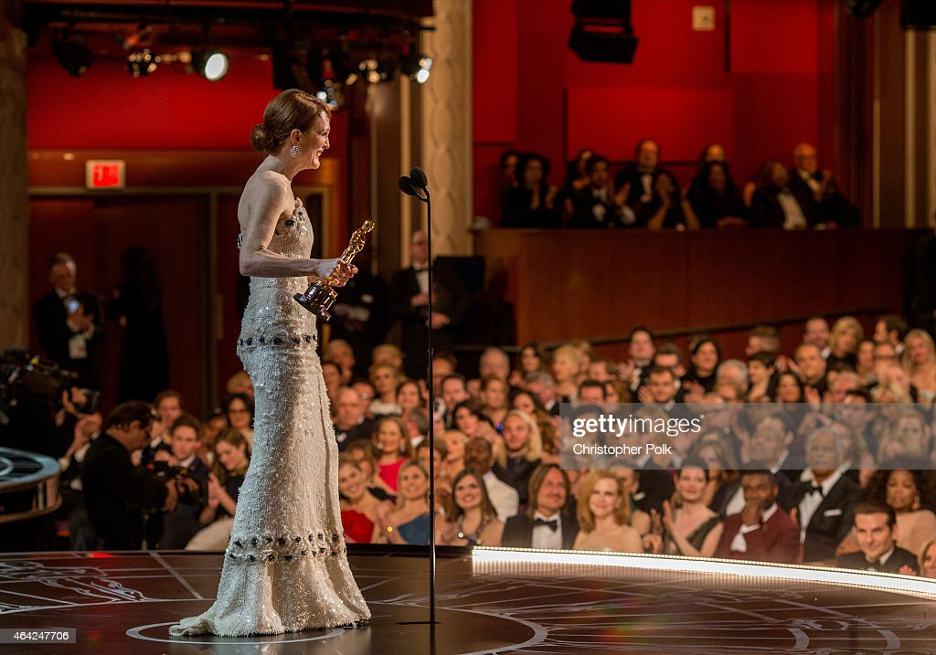 Actress Julianne Moore, winner of the Best Actress in a Leading Role Award for 'Still Alice', appears onstage at the 87th Annual Academy Awards at Dolby Theatre on February 22, 2015 in Hollywood, California.