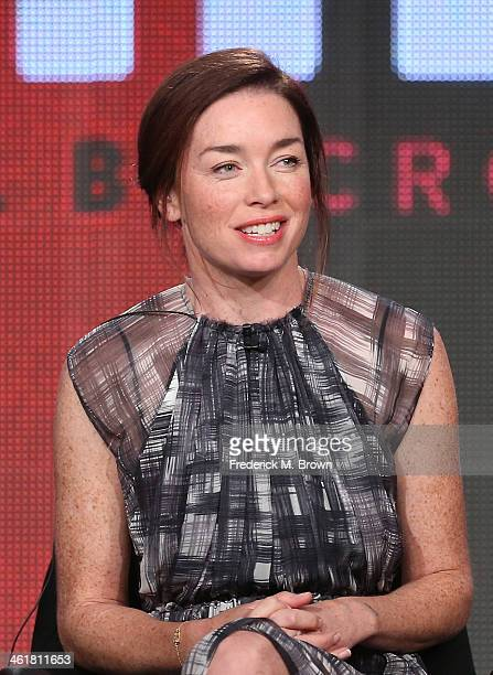 Actress Julianne Nicholson speaks onstage during the 'Sundance Channel - The Red Road' panel discussion at the AMC/Sundance portion of the 2014...